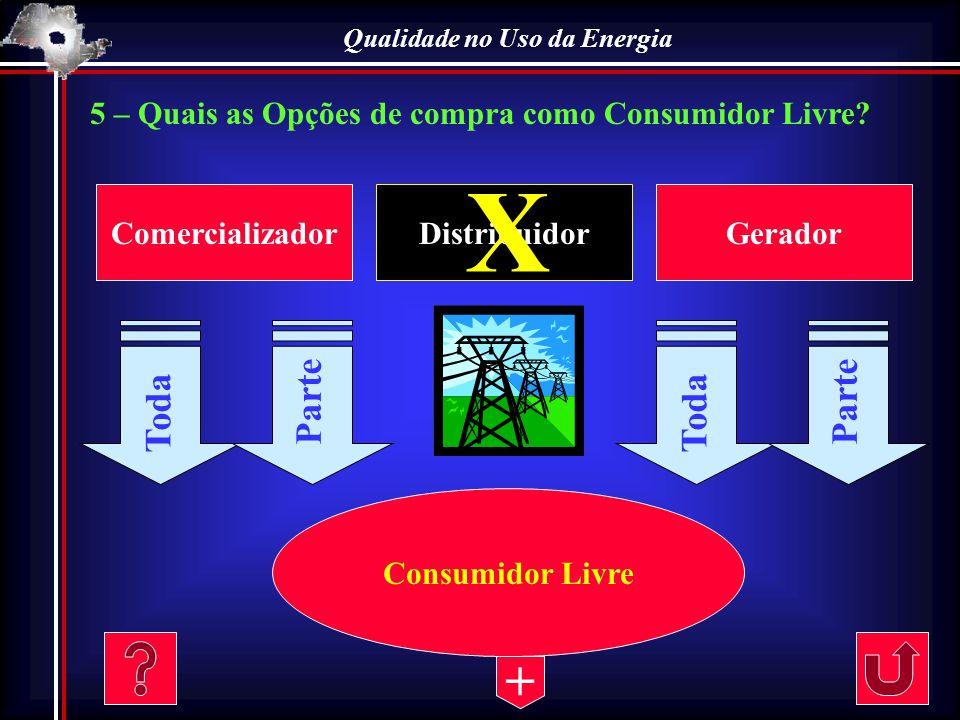 Qualidade no Uso da Energia 5 – Quais as Opções de compra como Consumidor Livre? ComercializadorDistribuidorGerador Consumidor Livre Toda Parte X Toda