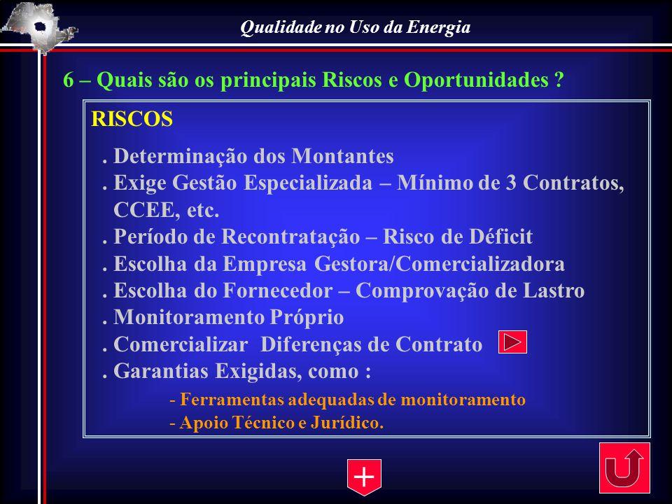 6 – Quais são os principais Riscos e Oportunidades ? RISCOS. Determinação dos Montantes. Exige Gestão Especializada – Mínimo de 3 Contratos, CCEE, etc