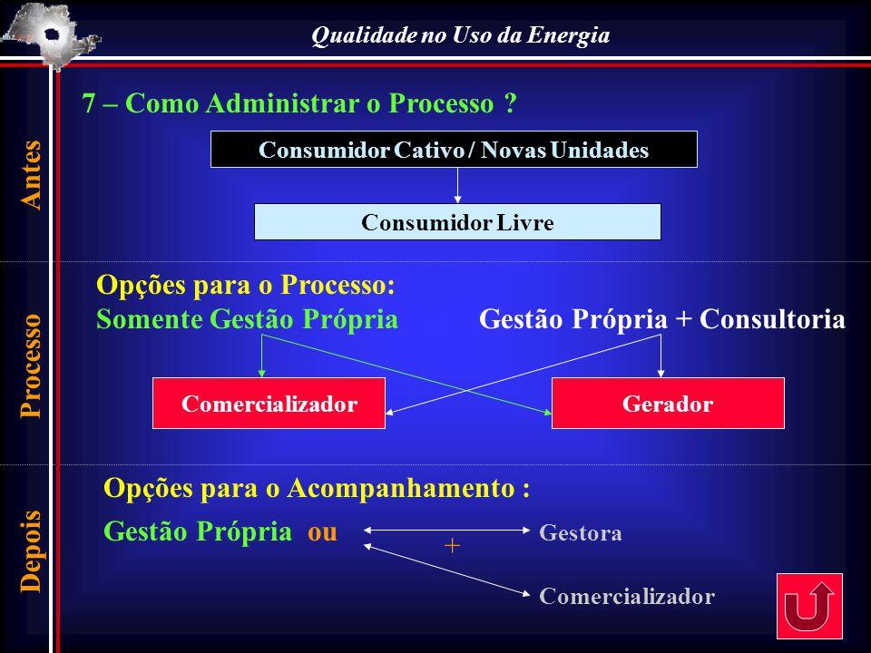 7 – Como Administrar o Processo ? Consumidor Cativo / Novas Unidades Consumidor Livre Opções para o Processo: Somente Gestão Própria Gestão Própria +