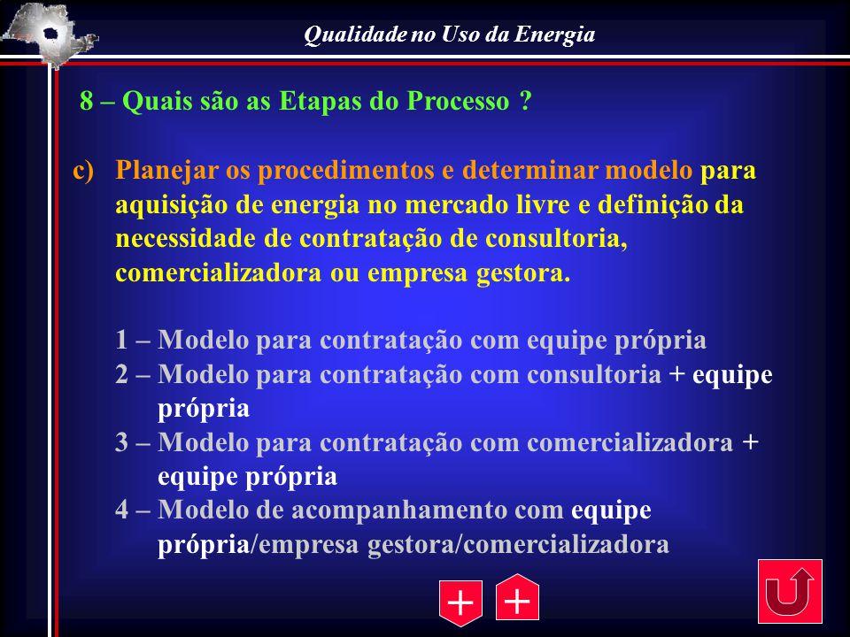 Qualidade no Uso da Energia 8 – Quais são as Etapas do Processo ? c)Planejar os procedimentos e determinar modelo para aquisição de energia no mercado