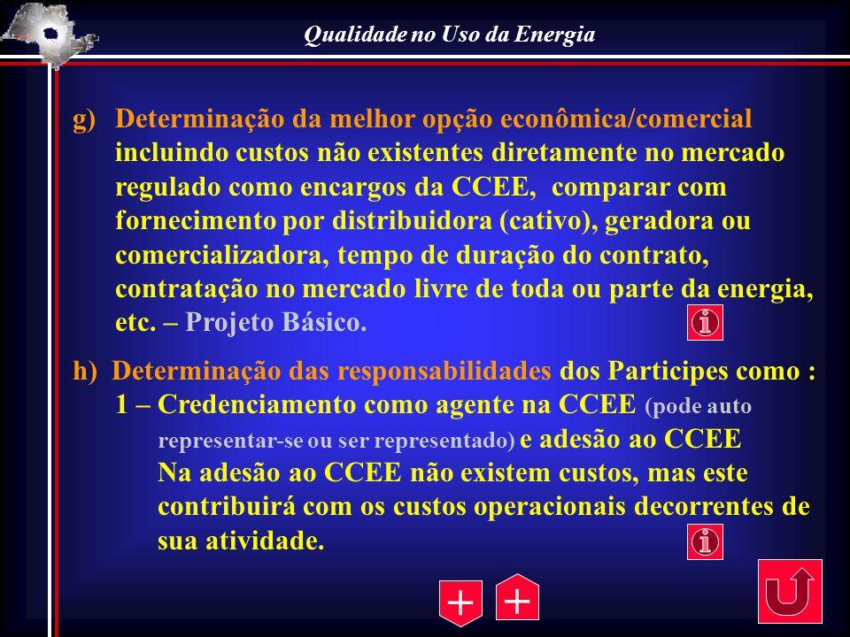 Qualidade no Uso da Energia g)Determinação da melhor opção econômica/comercial incluindo custos não existentes diretamente no mercado regulado como en