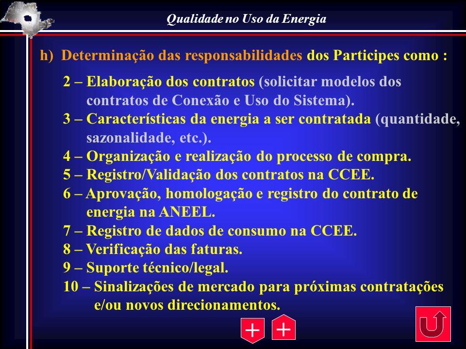 Qualidade no Uso da Energia h) Determinação das responsabilidades dos Participes como : 2 – Elaboração dos contratos (solicitar modelos dos contratos