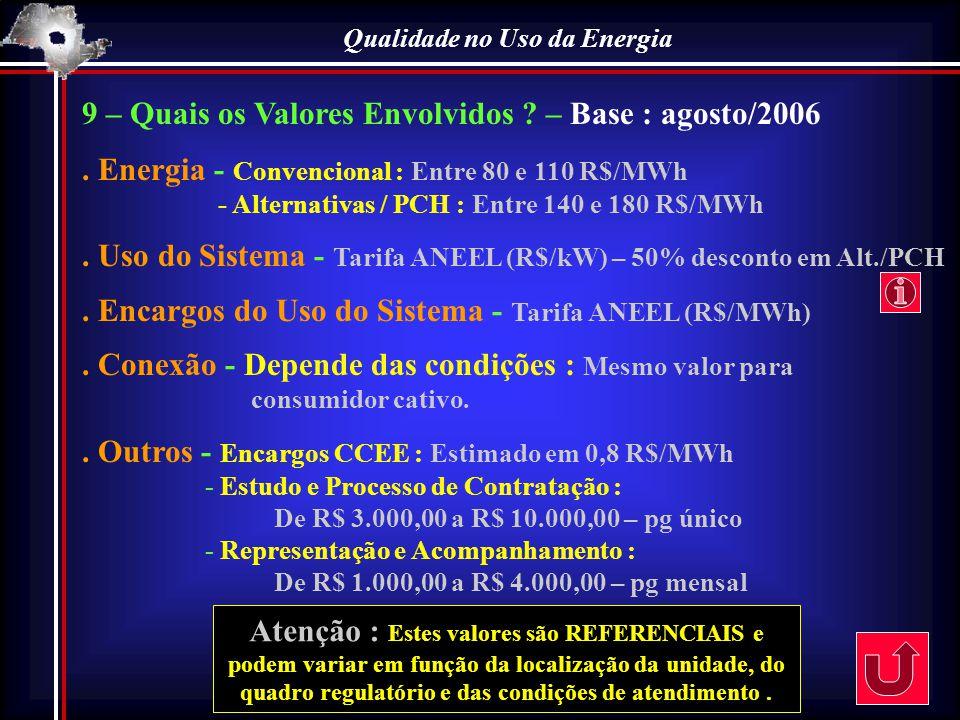 Qualidade no Uso da Energia 9 – Quais os Valores Envolvidos ? – Base : agosto/2006. Energia - Convencional : Entre 80 e 110 R$/MWh - Alternativas / PC
