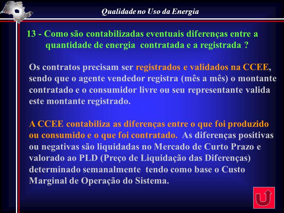 Qualidade no Uso da Energia Os contratos precisam ser registrados e validados na CCEE, sendo que o agente vendedor registra (mês a mês) o montante con