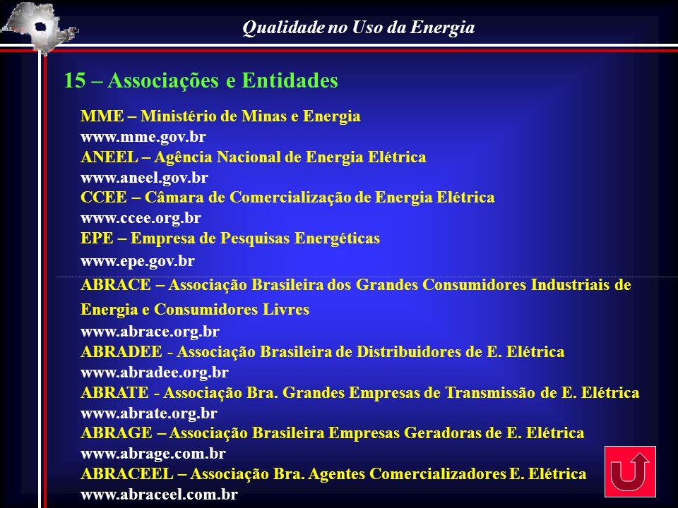 Qualidade no Uso da Energia 15 – Associações e Entidades MME – Ministério de Minas e Energia www.mme.gov.br ANEEL – Agência Nacional de Energia Elétri