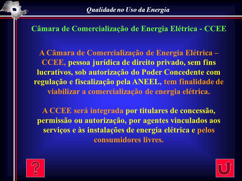 Qualidade no Uso da Energia Câmara de Comercialização de Energia Elétrica - CCEE A Câmara de Comercialização de Energia Elétrica – CCEE, pessoa jurídi