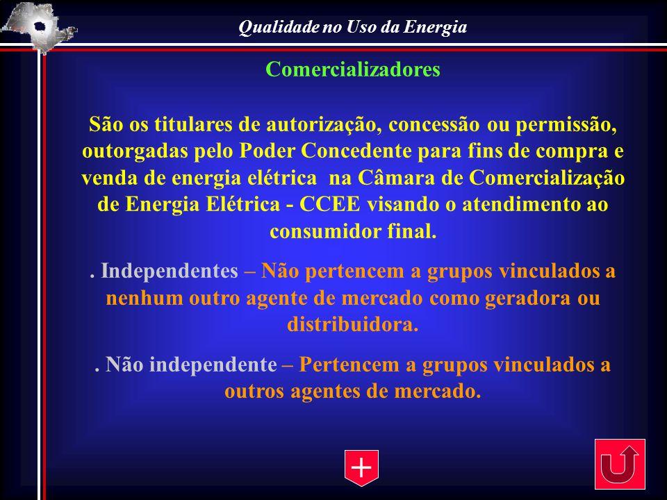 Qualidade no Uso da Energia Comercializadores São os titulares de autorização, concessão ou permissão, outorgadas pelo Poder Concedente para fins de c
