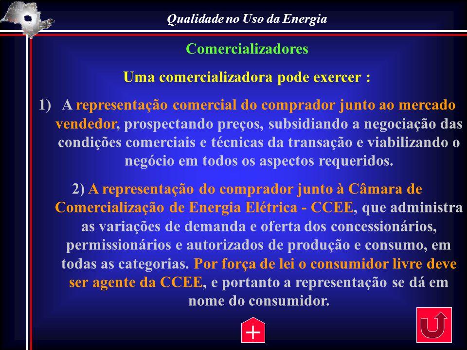 Qualidade no Uso da Energia Comercializadores Uma comercializadora pode exercer : 1)A representação comercial do comprador junto ao mercado vendedor,