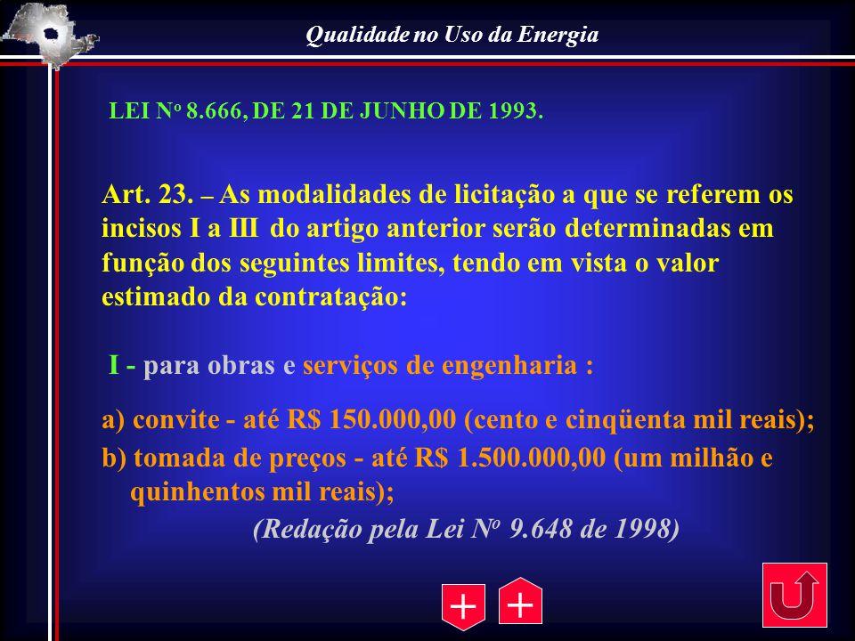 Qualidade no Uso da Energia Art. 23. – As modalidades de licitação a que se referem os incisos I a III do artigo anterior serão determinadas em função