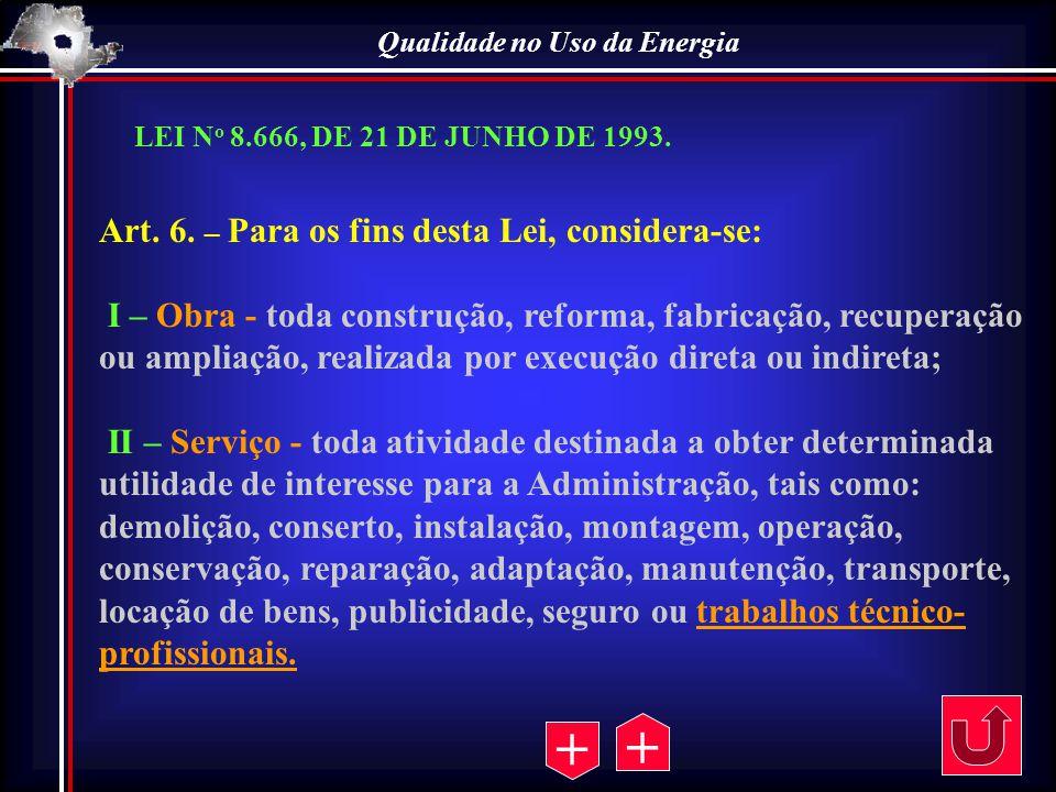 Qualidade no Uso da Energia Art. 6. – Para os fins desta Lei, considera-se: I – Obra - toda construção, reforma, fabricação, recuperação ou ampliação,