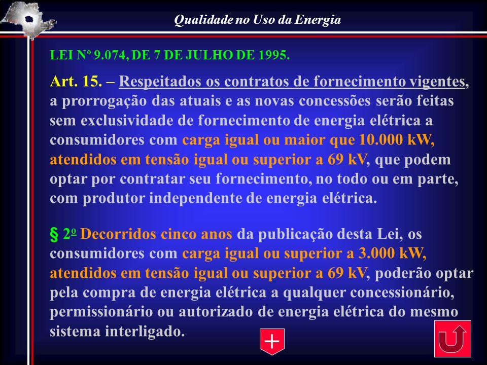 Qualidade no Uso da Energia LEI Nº 9.074, DE 7 DE JULHO DE 1995. Art. 15. – Respeitados os contratos de fornecimento vigentes, a prorrogação das atuai