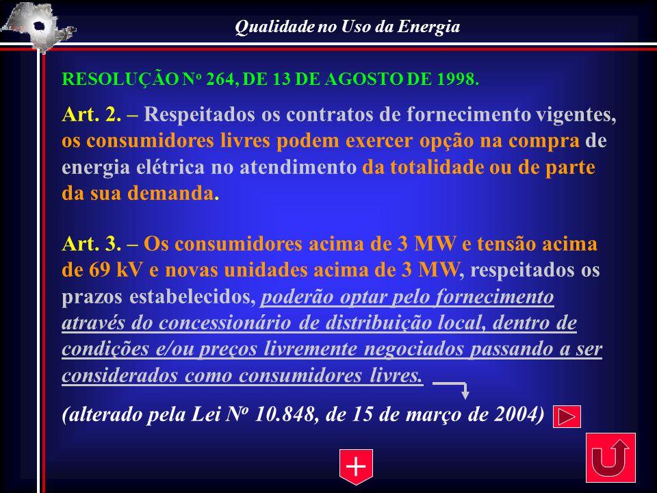 Qualidade no Uso da Energia RESOLUÇÃO N o 264, DE 13 DE AGOSTO DE 1998. Art. 2. – Respeitados os contratos de fornecimento vigentes, os consumidores l