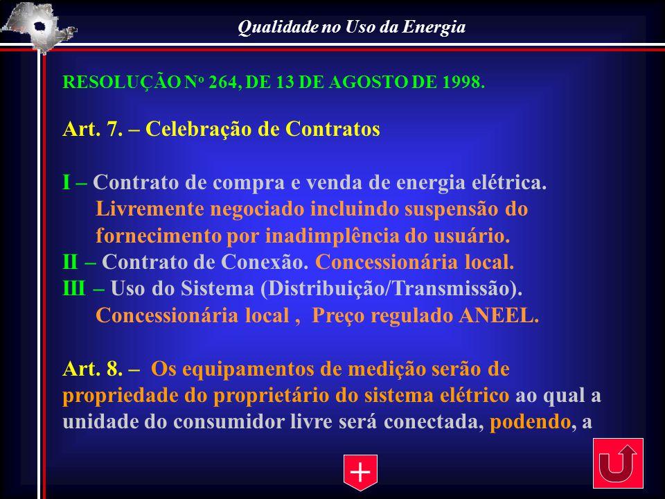 Qualidade no Uso da Energia RESOLUÇÃO N o 264, DE 13 DE AGOSTO DE 1998. Art. 7. – Celebração de Contratos I – Contrato de compra e venda de energia el