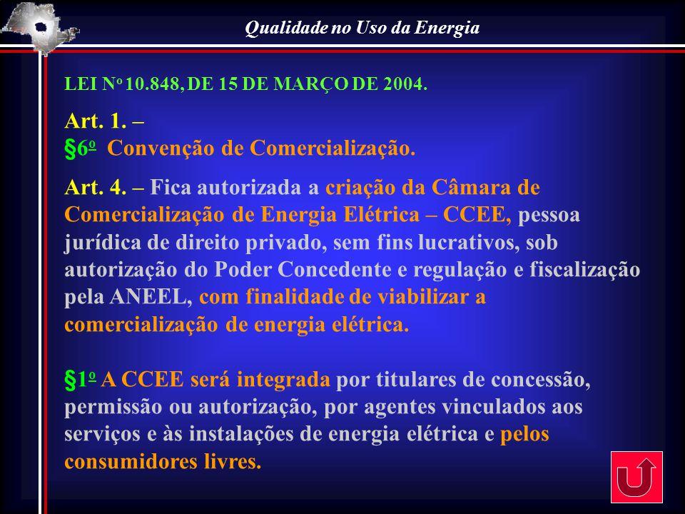 Qualidade no Uso da Energia LEI N o 10.848, DE 15 DE MARÇO DE 2004. Art. 1. – §6 o Convenção de Comercialização. Art. 4. – Fica autorizada a criação d
