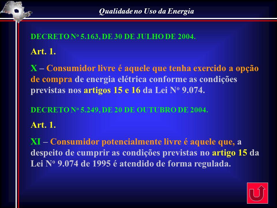 Qualidade no Uso da Energia DECRETO N o 5.163, DE 30 DE JULHO DE 2004. Art. 1. X – Consumidor livre é aquele que tenha exercido a opção de compra de e