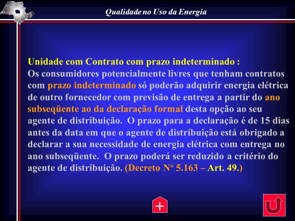 Qualidade no Uso da Energia Unidade com Contrato com prazo indeterminado : Os consumidores potencialmente livres que tenham contratos com prazo indete