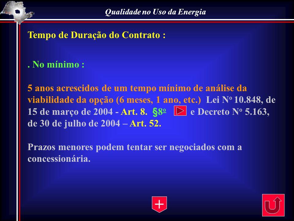 Qualidade no Uso da Energia Tempo de Duração do Contrato :. No mínimo : 5 anos acrescidos de um tempo mínimo de análise da viabilidade da opção (6 mes