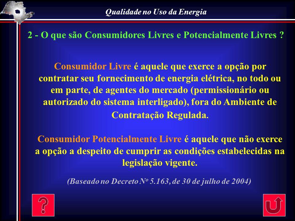 Qualidade no Uso da Energia 3 – Quais são os agentes de Mercado deste Processo .