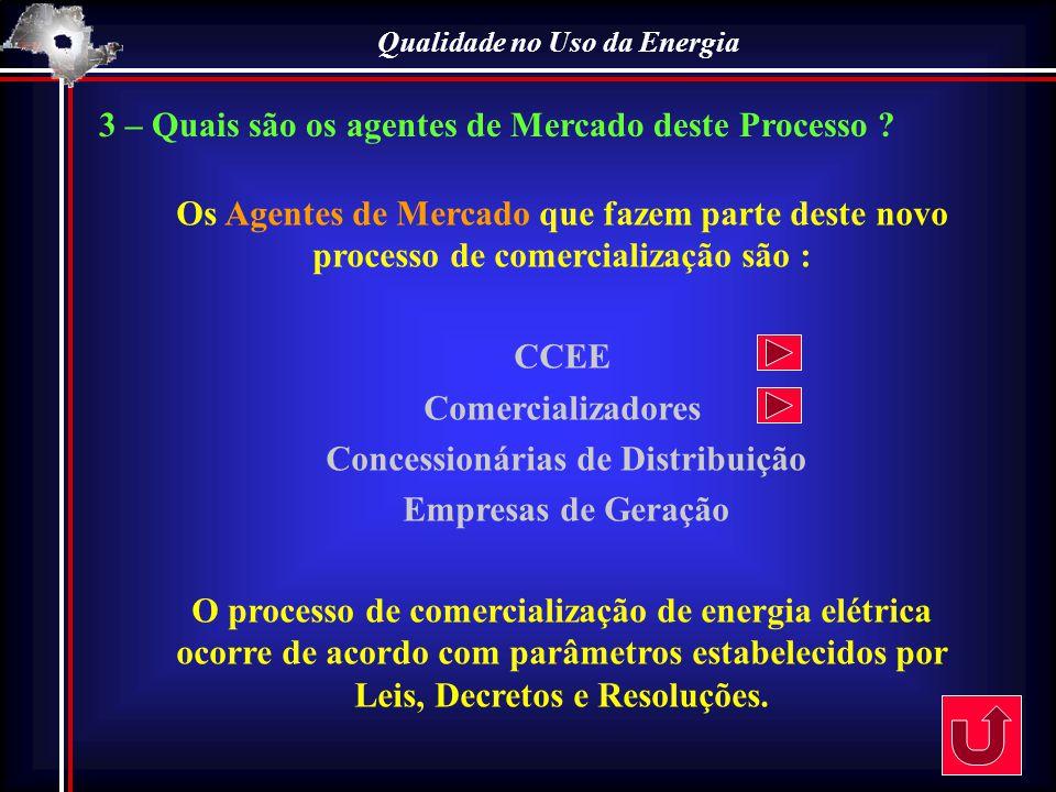 Qualidade no Uso da Energia 3 – Quais são os agentes de Mercado deste Processo ? Os Agentes de Mercado que fazem parte deste novo processo de comercia