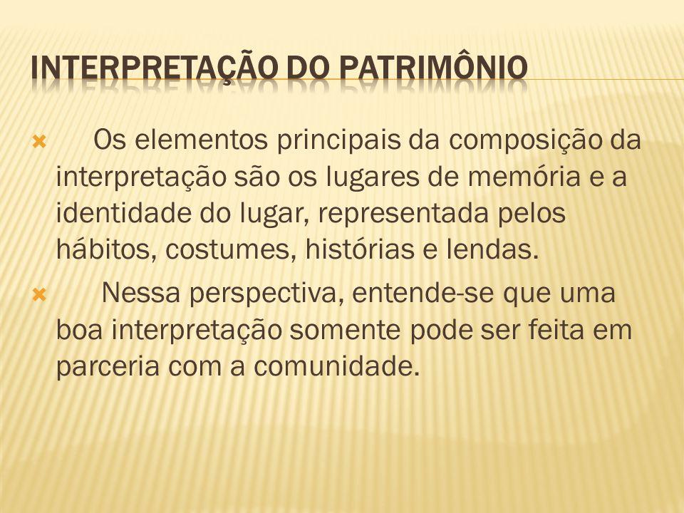 Os elementos principais da composição da interpretação são os lugares de memória e a identidade do lugar, representada pelos hábitos, costumes, histór