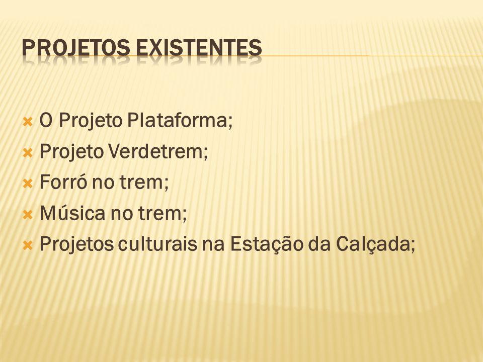 O Projeto Plataforma; Projeto Verdetrem; Forró no trem; Música no trem; Projetos culturais na Estação da Calçada;