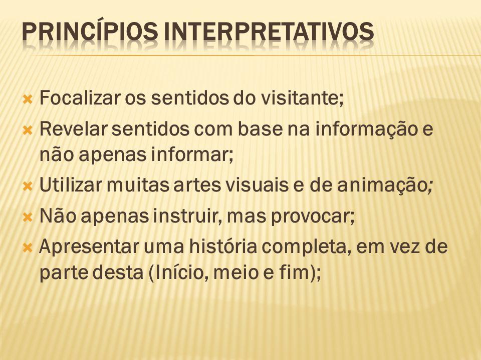 Focalizar os sentidos do visitante; Revelar sentidos com base na informação e não apenas informar; Utilizar muitas artes visuais e de animação; Não ap