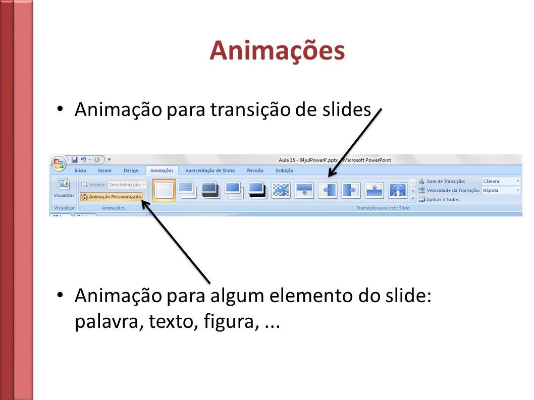Animações Animação para transição de slides Animação para algum elemento do slide: palavra, texto, figura,...