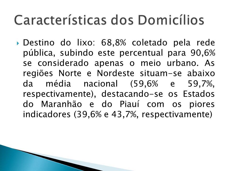 Destino do lixo: 68,8% coletado pela rede pública, subindo este percentual para 90,6% se considerado apenas o meio urbano. As regiões Norte e Nordeste
