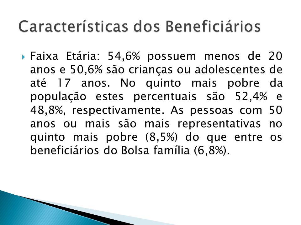 Faixa Etária: 54,6% possuem menos de 20 anos e 50,6% são crianças ou adolescentes de até 17 anos. No quinto mais pobre da população estes percentuais
