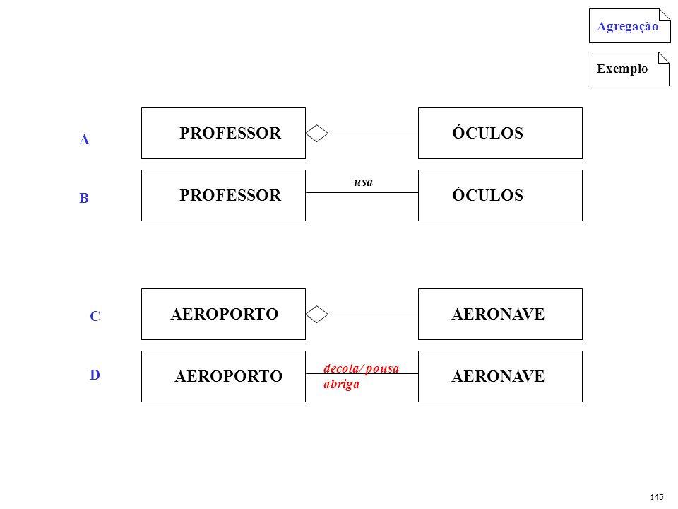 PROFESSOR ÓCULOS PROFESSOR ÓCULOS usa AEROPORTO AERONAVE AEROPORTO AERONAVE decola/ pousa abriga Exemplo Agregação 145 A B C D