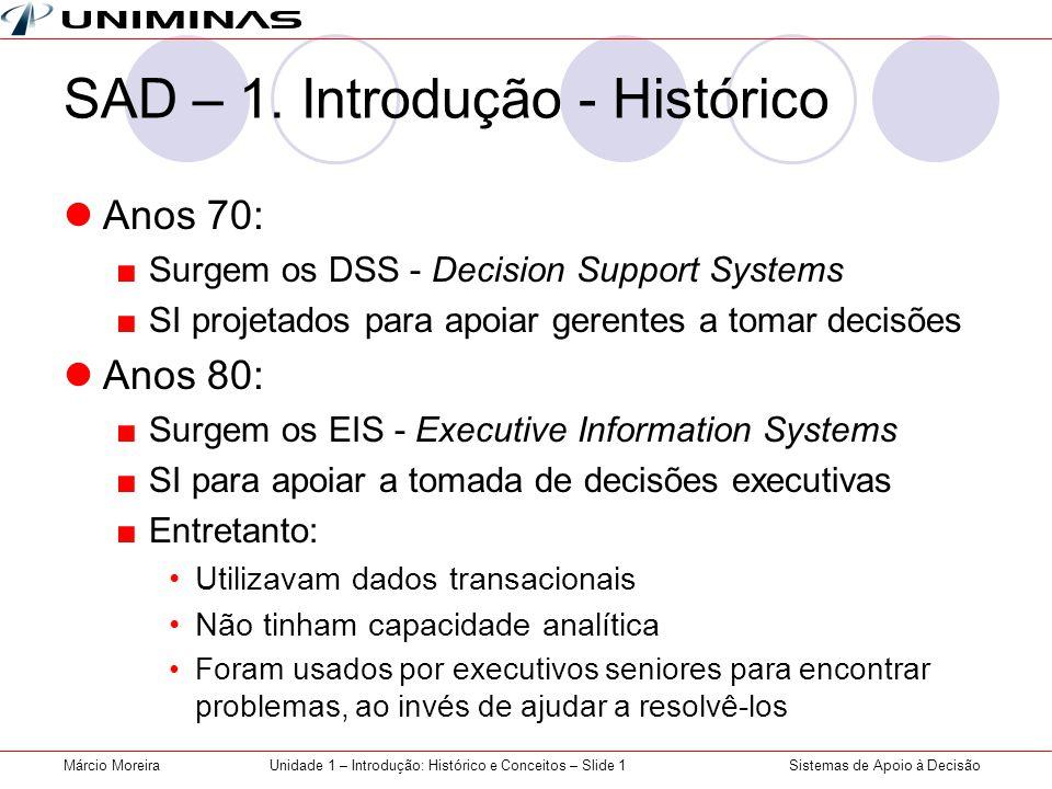 Sistemas de Apoio à DecisãoMárcio MoreiraUnidade 1 – Introdução: Histórico e Conceitos – Slide 1 SAD – 1. Introdução - Histórico Anos 70: Surgem os DS