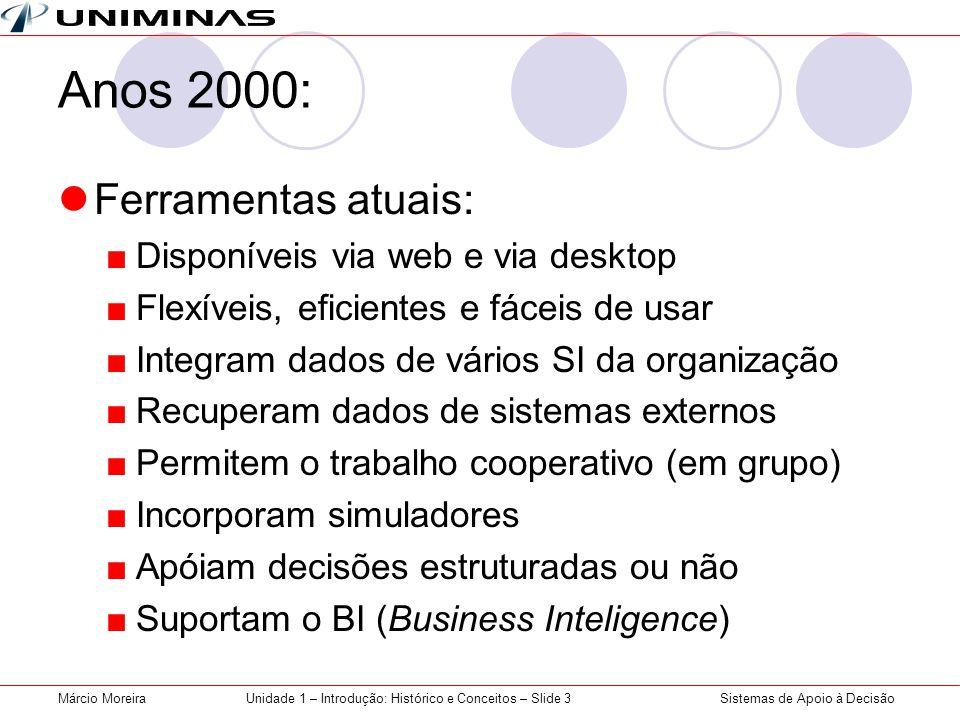 Sistemas de Apoio à DecisãoMárcio MoreiraUnidade 1 – Introdução: Histórico e Conceitos – Slide 3 Anos 2000: Ferramentas atuais: Disponíveis via web e