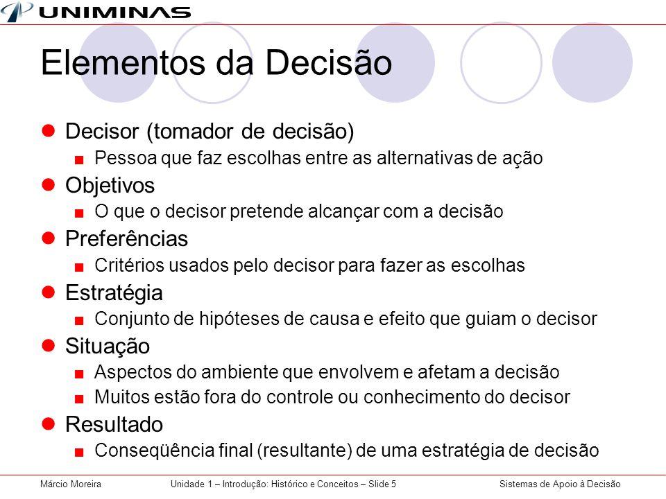 Sistemas de Apoio à DecisãoMárcio MoreiraUnidade 1 – Introdução: Histórico e Conceitos – Slide 5 Elementos da Decisão Decisor (tomador de decisão) Pes