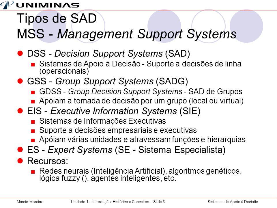 Sistemas de Apoio à DecisãoMárcio MoreiraUnidade 1 – Introdução: Histórico e Conceitos – Slide 6 Tipos de SAD MSS - Management Support Systems DSS - Decision Support Systems (SAD) Sistemas de Apoio à Decisão - Suporte a decisões de linha (operacionais) GSS - Group Support Systems (SADG) GDSS - Group Decision Support Systems - SAD de Grupos Apóiam a tomada de decisão por um grupo (local ou virtual) EIS - Executive Information Systems (SIE) Sistemas de Informações Executivas Suporte a decisões empresariais e executivas Apóiam várias unidades e atravessam funções e hierarquias ES - Expert Systems (SE - Sistema Especialista) Recursos: Redes neurais (Inteligência Artificial), algoritmos genéticos, lógica fuzzy (), agentes inteligentes, etc.