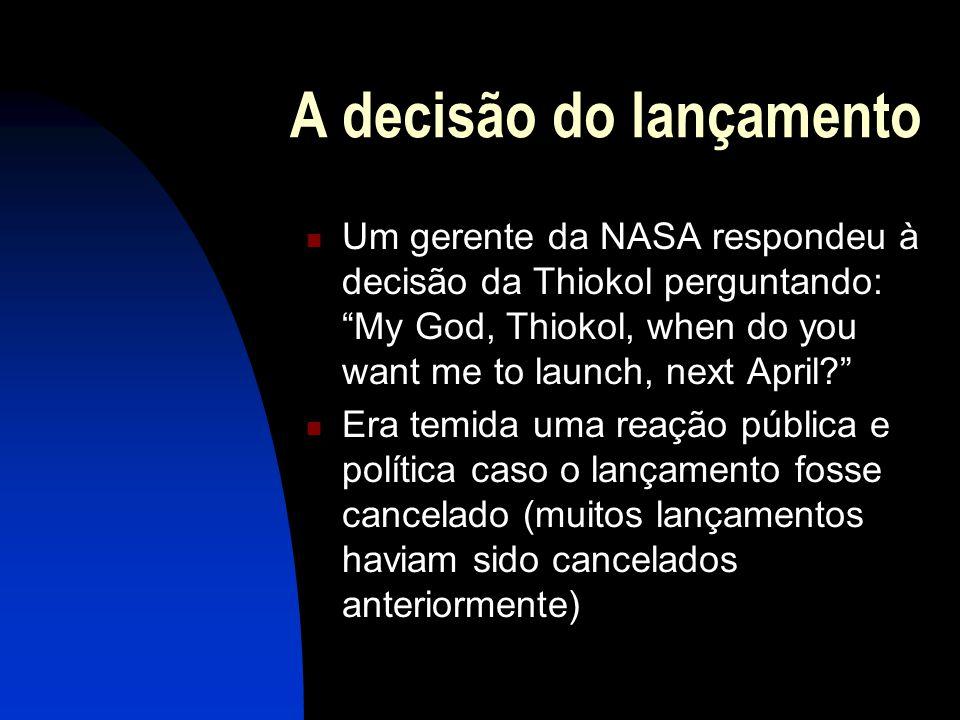 A decisão do lançamento Um gerente da NASA respondeu à decisão da Thiokol perguntando: My God, Thiokol, when do you want me to launch, next April? Era