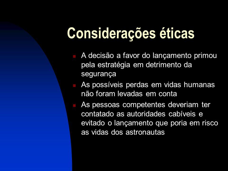 Considerações éticas A decisão a favor do lançamento primou pela estratégia em detrimento da segurança As possíveis perdas em vidas humanas não foram