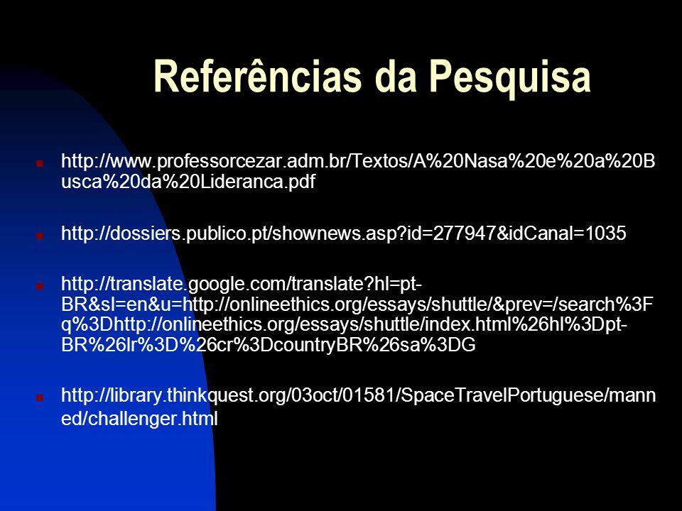 Referências da Pesquisa http://www.professorcezar.adm.br/Textos/A%20Nasa%20e%20a%20B usca%20da%20Lideranca.pdf http://dossiers.publico.pt/shownews.asp