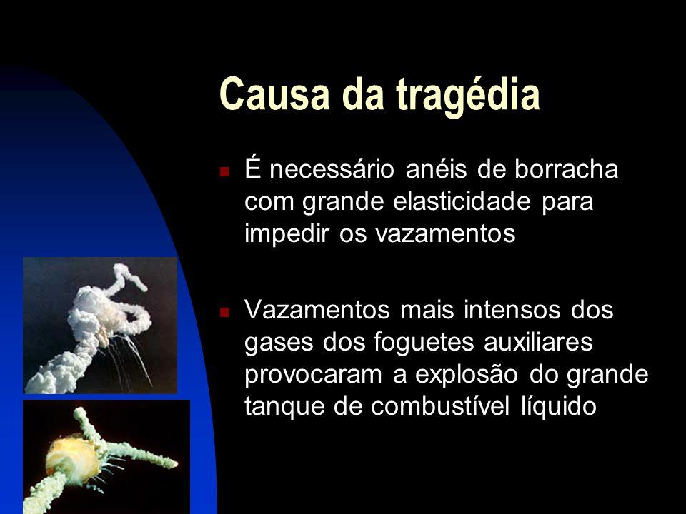 Causa da tragédia É necessário anéis de borracha com grande elasticidade para impedir os vazamentos Vazamentos mais intensos dos gases dos foguetes au