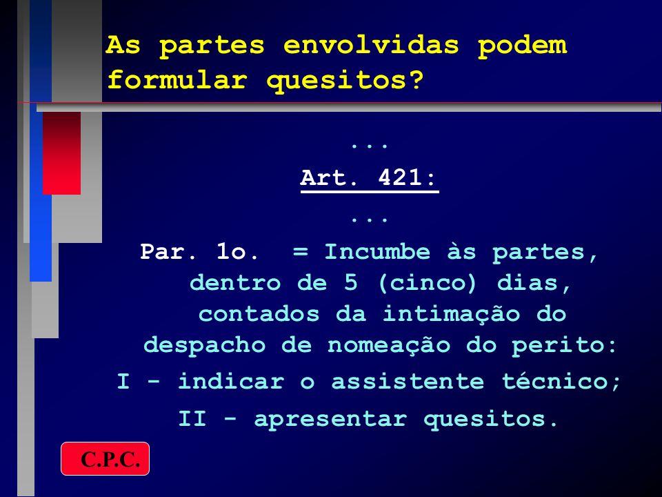 As partes envolvidas podem formular quesitos?... Art. 421:... Par. 1o. = Incumbe às partes, dentro de 5 (cinco) dias, contados da intimação do despach
