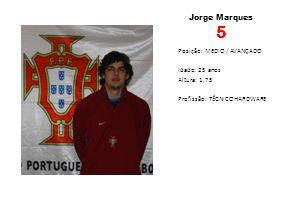 Jorge Marques 5 Posição: MEDIO / AVANÇADO Idade: 25 anos Altura: 1,75 Profissão: TÉCNICO HARDWARE