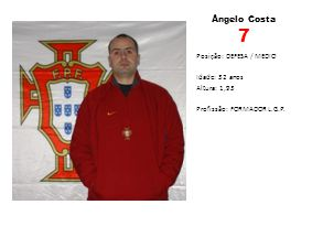 Ângelo Costa 7 Posição: DEFESA / MEDIO Idade: 32 anos Altura: 1,93 Profissão: FORMADOR L.G.P.