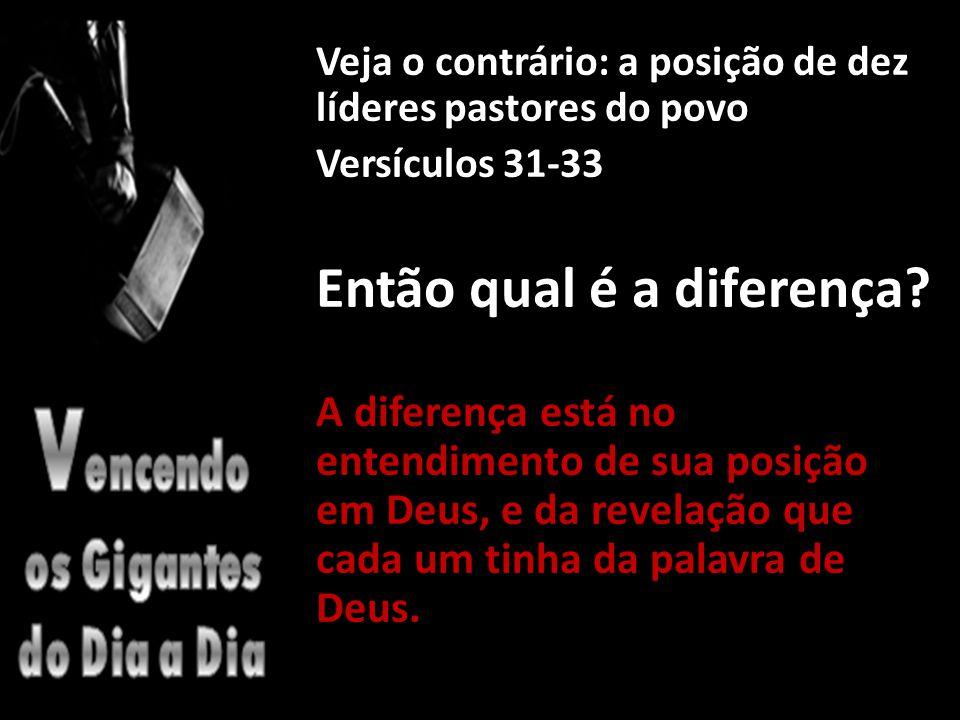 Veja o contrário: a posição de dez líderes pastores do povo Versículos 31-33 Então qual é a diferença.