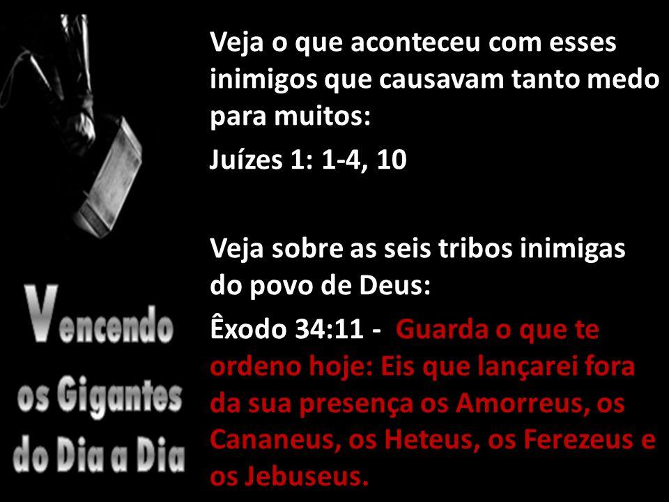 Veja o que aconteceu com esses inimigos que causavam tanto medo para muitos: Juízes 1: 1-4, 10 Veja sobre as seis tribos inimigas do povo de Deus: Êxodo 34:11 - Guarda o que te ordeno hoje: Eis que lançarei fora da sua presença os Amorreus, os Cananeus, os Heteus, os Ferezeus e os Jebuseus.