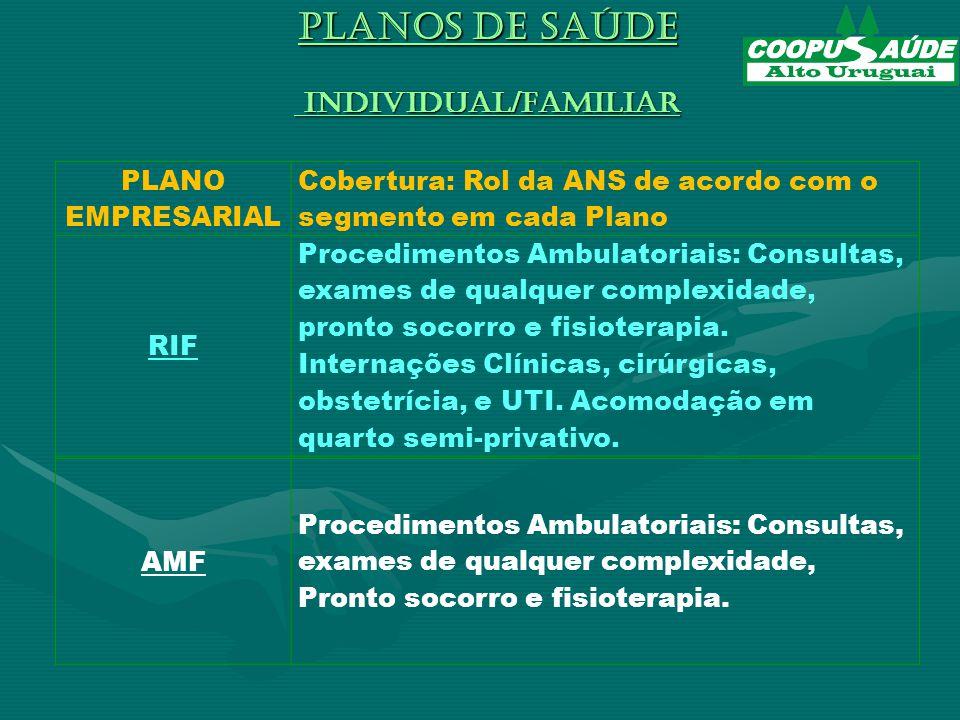 PLANO EMPRESARIAL Cobertura: Rol da ANS de acordo com o segmento em cada Plano RIF Procedimentos Ambulatoriais: Consultas, exames de qualquer complexidade, pronto socorro e fisioterapia.