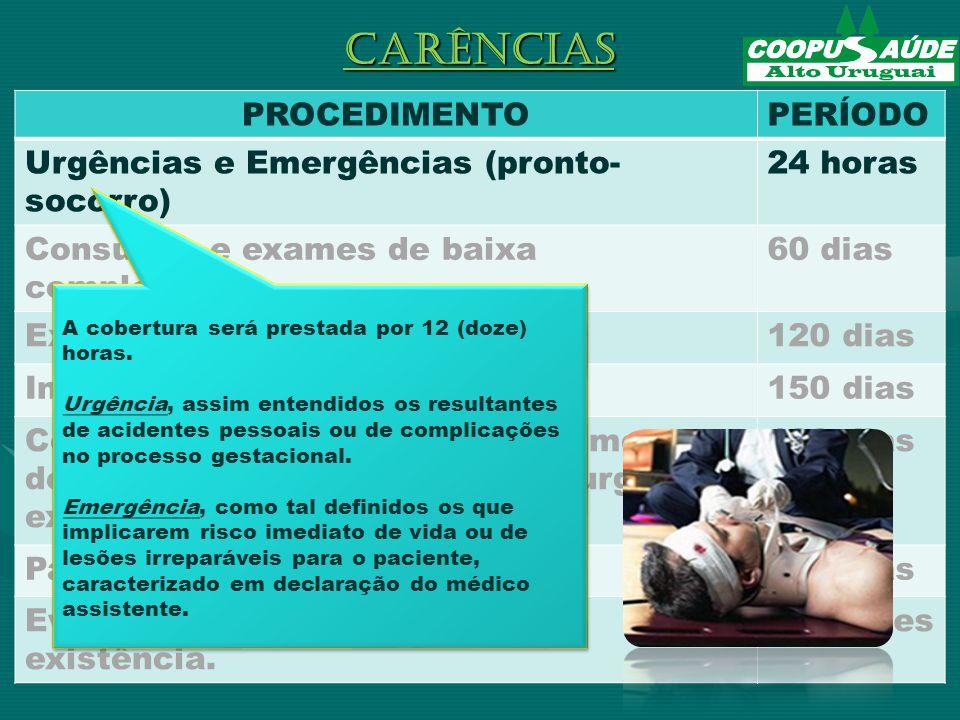 PROCEDIMENTOPERÍODO Urgências e Emergências (pronto- socorro) 24 horas Consultas e exames de baixa complexidade.