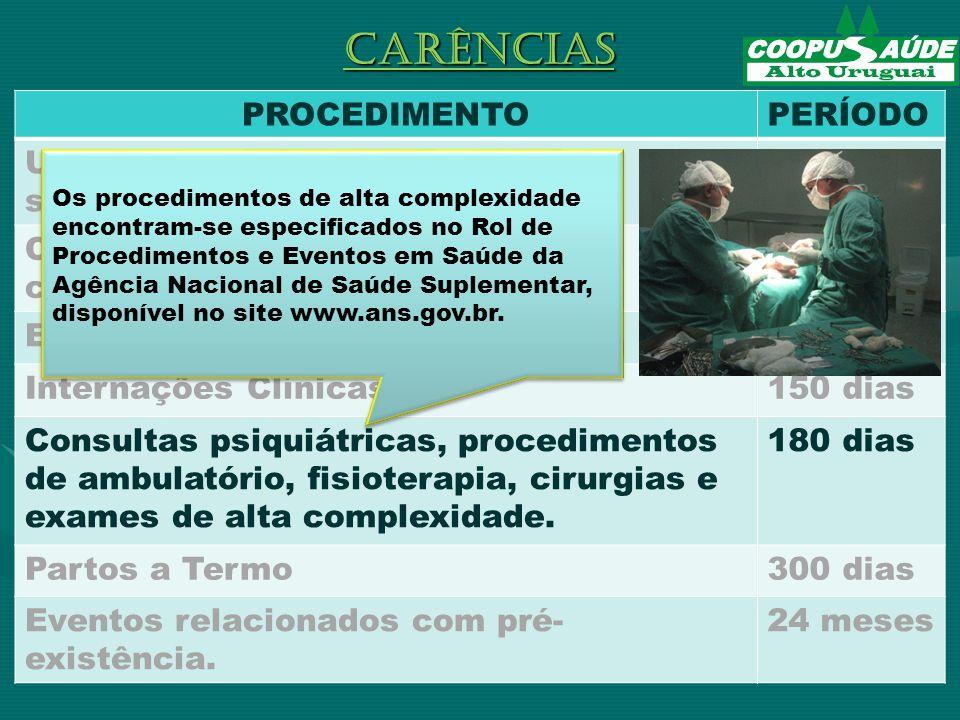 PROCEDIMENTOPERÍODO Urgências e Emergências (pronto- socorro 24 horas Consultas e exames de baixa complexidade.