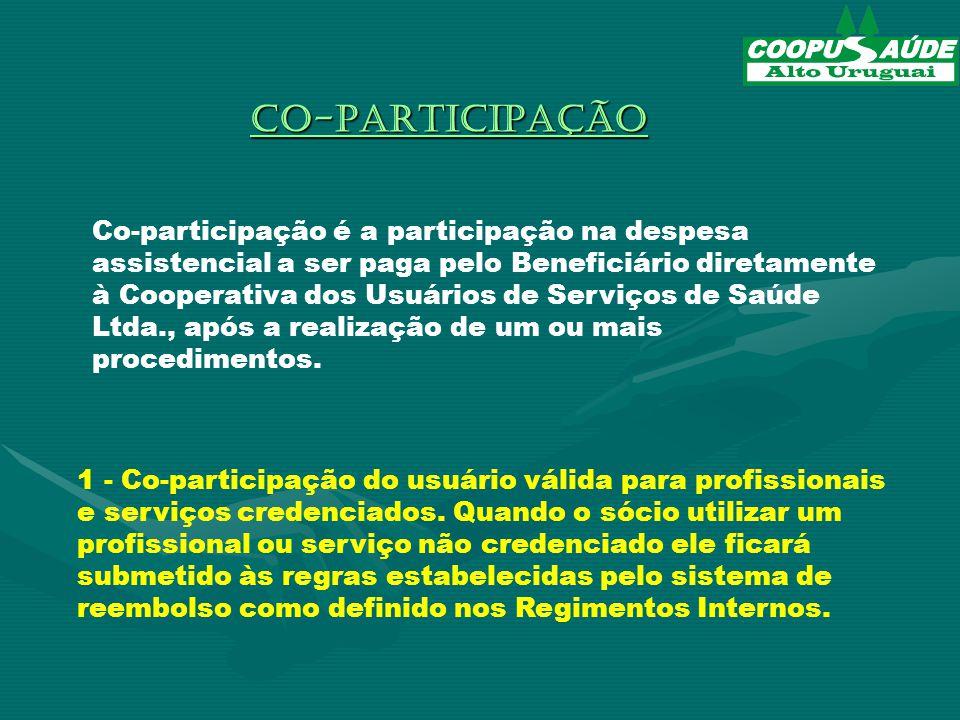 CO-PARTICIPAÇÃO 1 - Co-participação do usuário válida para profissionais e serviços credenciados.