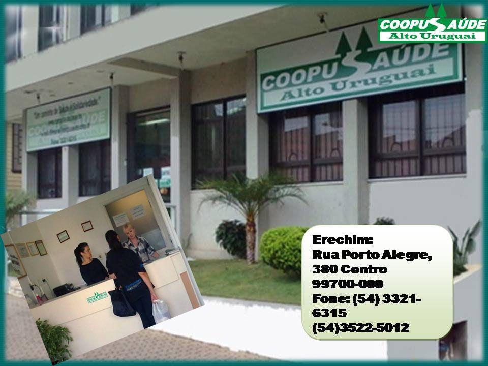 Erechim: Rua Porto Alegre, 380 Centro 99700-000 Fone: (54) 3321- 6315 (54)3522-5012 Erechim: Rua Porto Alegre, 380 Centro 99700-000 Fone: (54) 3321- 6315 (54)3522-5012