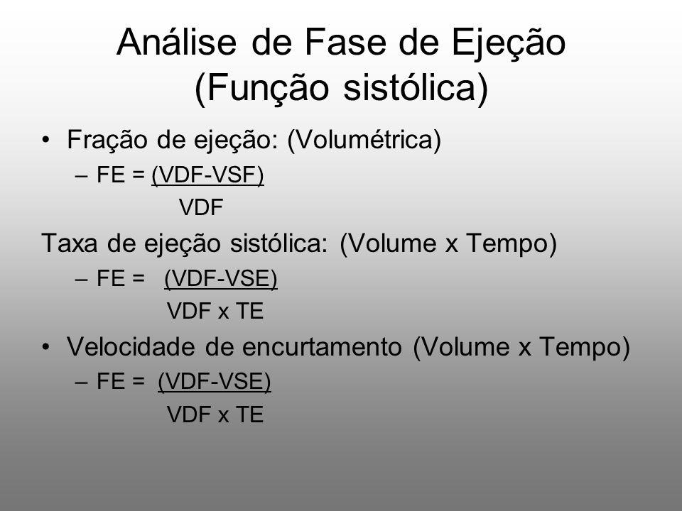 Fração de ejeção: (Volumétrica) –FE = (VDF-VSF) VDF Taxa de ejeção sistólica: (Volume x Tempo) –FE = (VDF-VSE) VDF x TE Velocidade de encurtamento (Volume x Tempo) –FE = (VDF-VSE) VDF x TE Análise de Fase de Ejeção (Função sistólica)