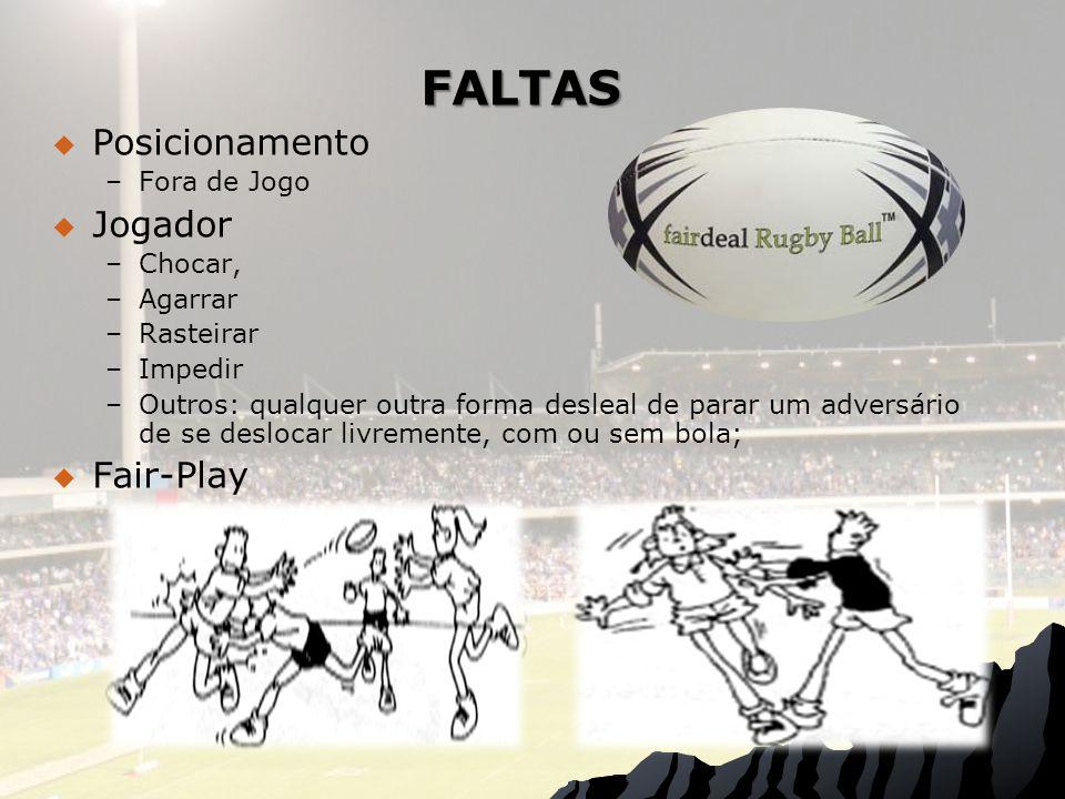 FALTAS Posicionamento – –Fora de Jogo Jogador – –Chocar, – –Agarrar – –Rasteirar – –Impedir – –Outros: qualquer outra forma desleal de parar um adversário de se deslocar livremente, com ou sem bola; Fair-Play
